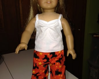 "Doll Clothes PJs'-Black Cats on Orange - Halloween-Sleep pants -for 18"" Dolls"