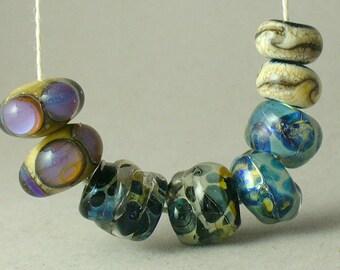 Perles Lampwork/SRA paires au chalumeau/perles/boucle d'oreille Double Helix/réactif verre/argent verre/bleu/nuggets/bio /