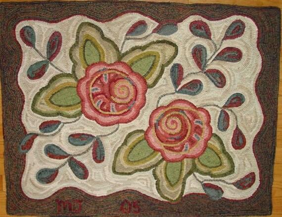 """Rug Hooking Pattern, Primitive Floral #1, 28"""" x 36"""", J913"""