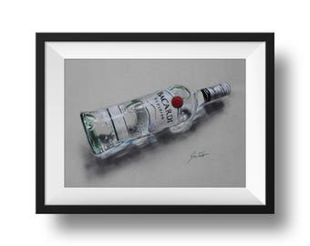 Bacardi Rum bottle drawing