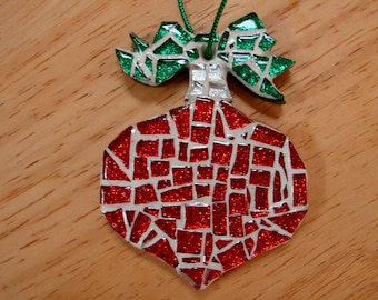 Mosaic Christmas Ornament in Red Green and Silver