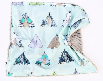 Baby Blanket- Gorgeous Modern Teepee Baby Blanket Featuring Cotton, Plush Faux Fur