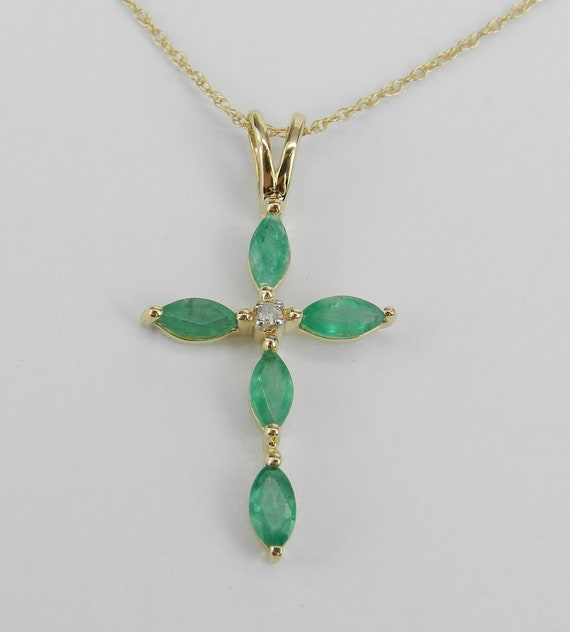 "Diamond and Emerald Cross Pendant Necklace 18"" Chain 14K Yellow Gold Religious Charm"