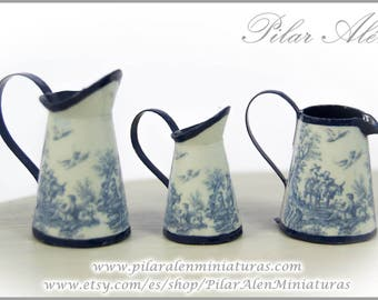 Pitcher for dollhouse. Toile Jouy blue. 12th scale. One inch scale miniature.