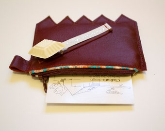 Porte-monnaie en cuir véritable bordeaux - fabriqué en France par Clafoutis design