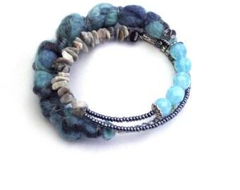 Blue memory wire bracelet boho jewelry gypsy style gift for her something blue textile bracelet