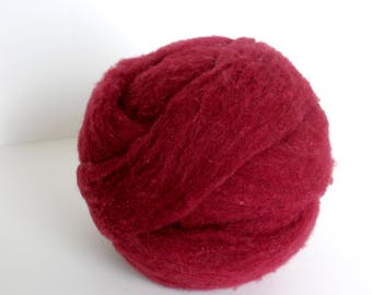Polypay Wool Roving for Spinning -- Dark Red