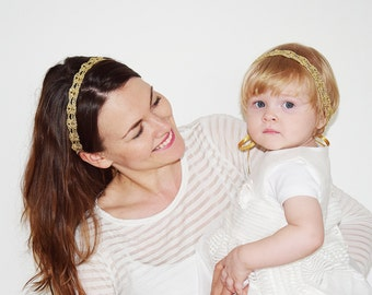 Gold Headbands Set, Mother Daughter Matching Headbands, Mommy and Baby Matching Headbands, Mommy and Me Set, Gold Forehead Bands