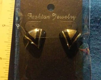Black and Gold Avon Clip On Earrings 1980-90's