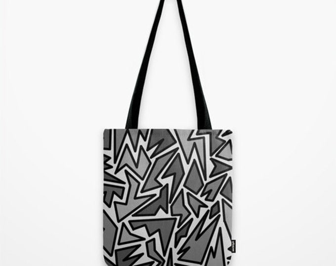 Black and Gray Zig Zag Print Tote Bag - 3 sizes - Grocery Tote - Book Bag - Craft Tote - Made to Order