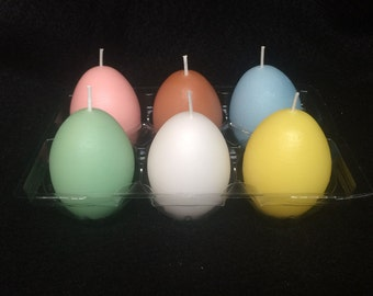 three unscented egg shaped candles, egg candles, easter egg candles, easter candles, easter candle, spring candles