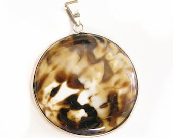 1pc Ice Flower Agate pendant-9325