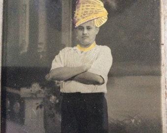 Antike Foto gelb Turban handbemalt