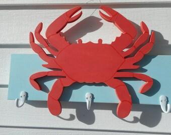 Handmade wooden crab coat rack / beach decor / nautical decor