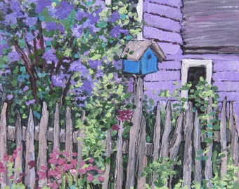 "Lilacs Springtime  Birdhouse Colorful Wall Art Fine Art PRINT ""Lilacs"" 8X10 print of original acrylic painting by Patty Fleckenstein"