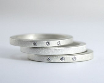 Diamond and Sterling Silver Ring Set - Wedding Band Set - Engagement Rings - Anniversary Rings - Three Stone Rings