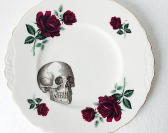 Square Skull Cake Sandwich Plate Red Roses White Vintage Bone China Made in England Afternoon Tea Party Wedding Anniversary Gift New Home