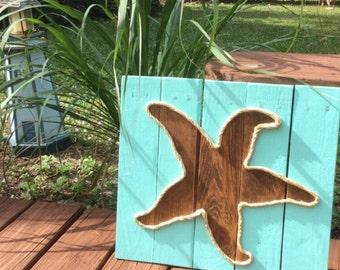 Handmade Starfish With Rope Beach Pallet Art