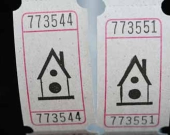 Vintage Style Hand Stamped Birdhouse Carnival Tickets Great for Housewarming Gift