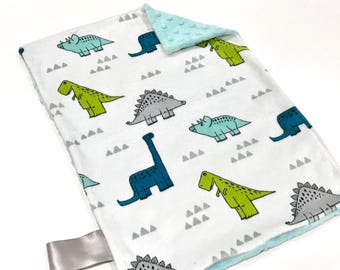 Modern Dinos Baby Boy MINKY Lovey Blanket, MINI Minky Baby Blanket, Taggie Blanket, Blue and Green Dinosaur Lovey Blanket, Baby Shower Gift