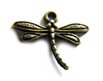 10 Bronze Dragonfly Charms