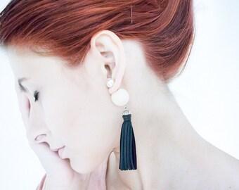 Tribal Earrings, Tassel Earrings, Front Back Earring, Leather Tassel Earrings, Tribal Earrings, Double Pearl Earrings, Stud Earrings, Pink