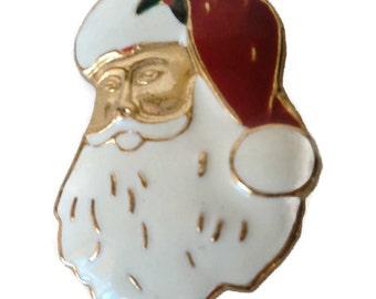 Vintage Enamel Santa Claus Face  Brooch