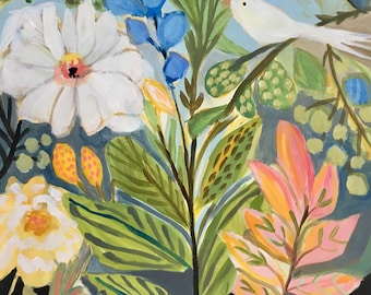 Flower Painting Bohemian Flowers Painting on 18 x 24 Paper by Karen Fields