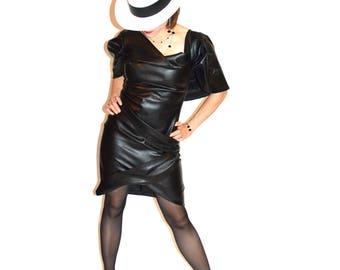 dress black woman dress rock' rockin ceateur custom black faux leather, pleated short dress