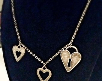 Heart Lock and Key Necklace.
