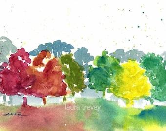 Autumn Colors Watercolor Print