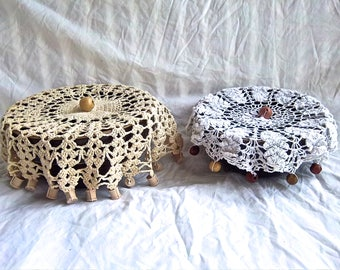 Vintage Doilies Redesign Weighted Crochet Bowl Covers Indoor Outdoor Picnic Bowl Cover Vintage Up Cycle Crochet Bowl Cover Home Kitchen Set