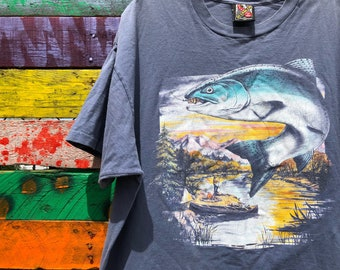 xl-3D emblem fly fishing graphic tee