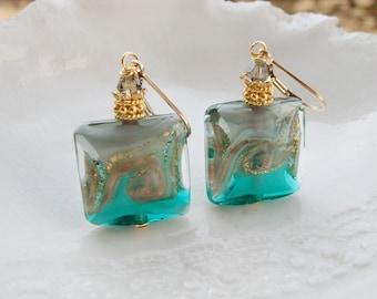 Green Murano Glass Earrings