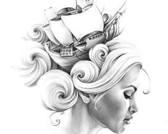 """Giclee Archival Print """"All at Sea"""""""