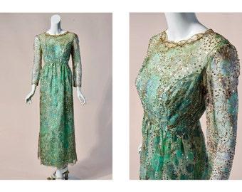 60s *designer* Sarmi New York mint lace & gold sequin gown | medium
