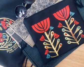Hand Painted Bag, Cosmetic Bag, Leather Cosmetig Bag,  Makeup Bag, Zipper Pouch, Leather Toiletry Bag, Accessory Bag, Pencil Case, Purse,