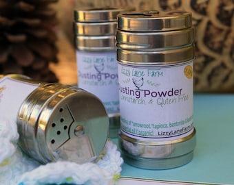 Hazelnut Dusting Powder | Bath Body Powder | Organic Powder | Talc, Cornstarch, GMO Free | Refillable Shaker Bottle | Travel Powder |