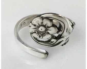 Repurposed Silverplate Spoon Ring- Flower