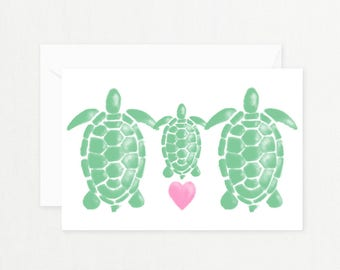 """Turtle Family Greeting Card: """"WATERCOLOR TURTLE FAMILY"""" with Pink Heart Printable Card for New Baby, Baby Shower, New Mother Postcard"""