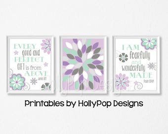 PRINTABLE Purple mint nursery art Christian girl decor Floral burst print Download art Girls room art Purple gray girl art Bible verse #1876