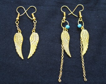 Boho tribal wing dangle earrings made out of gold plated metal and Gold filled with turquoise stone bead.