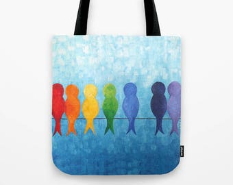 Rainbow Birds on a Wire,  Tote Bag,  16x16 inch art print tote