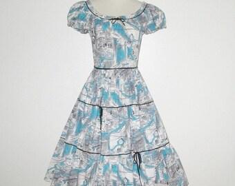 Vintage 50s Novelty Print Dress / 50s Cafe Street Scene Novelty Print Dress / 50s Turquoise & Ivory Dress - Size S, M