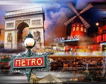 La France, Colorful Wall Art, Digital Art, Printable Poster, Digital Download, Printable Photography, Printable Art,  Photographic Collage