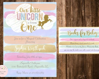Unicorn Birhtday Invitation, Unicorn First Birthday, Unicorn Books for Baby, Unicorn Party, Unicorn Printable, Unicorn Books for Baby