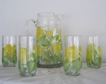 ON SALE Pitcher w matching Glasses yellow Roses green leaves great gift for Mother, Wife, Housewarming, Birthday, Wedding, Bridal shower