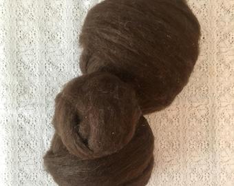 Shetland Wool Roving Dark Brown- 4 oz pkg