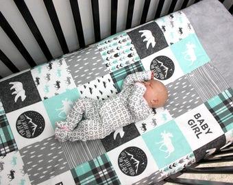 Baby Girl Woodland Bedding, Girl Crib Quilt, Teal Grey Crib Bedding