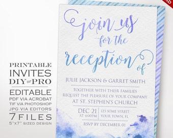 Wedding Invitation Template - Watercolor Reception Invitation - Printable DIY Painted Watercolor Wedding Invitation Editable Wedding Invite